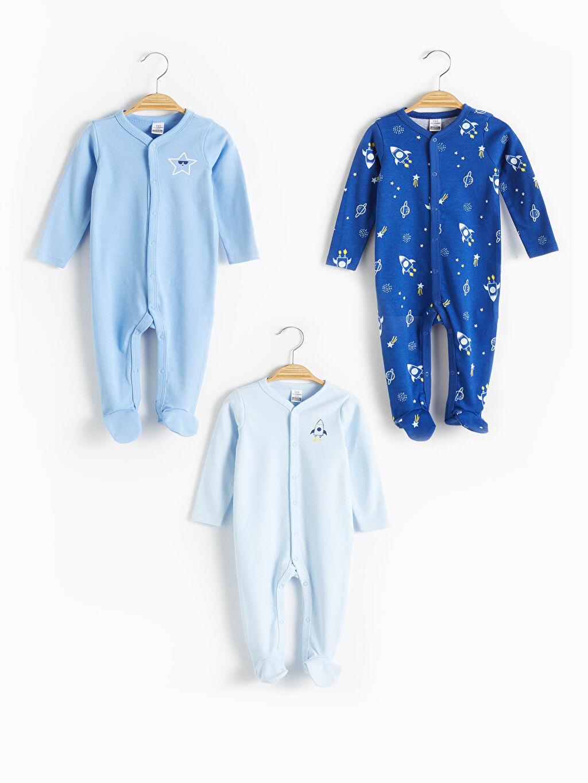 Mavi Erkek Bebek Yenidoğan Baskılı Patikli Tulum 3'Lü 0WDG21Z1 LC Waikiki