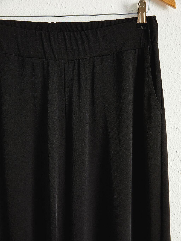 LC Waikiki Siyah Beli Lastikli Cepli Pantolon Etek