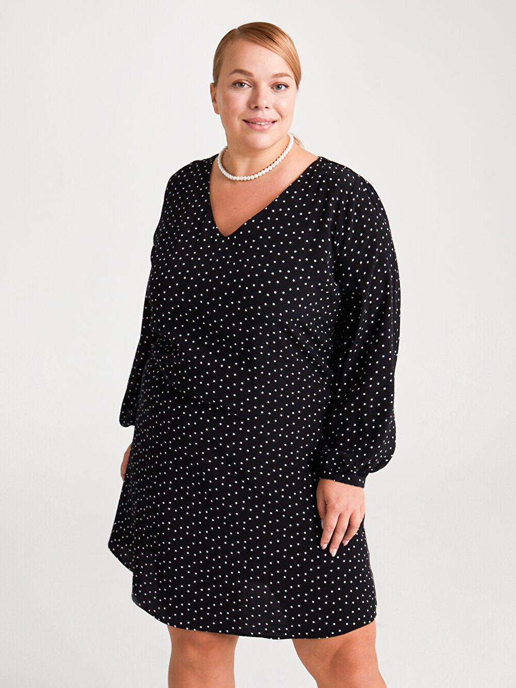 %100 Viskoz Elbise Desenli Krep Standart V Yaka Uzun Kol V Yaka Krep Elbise