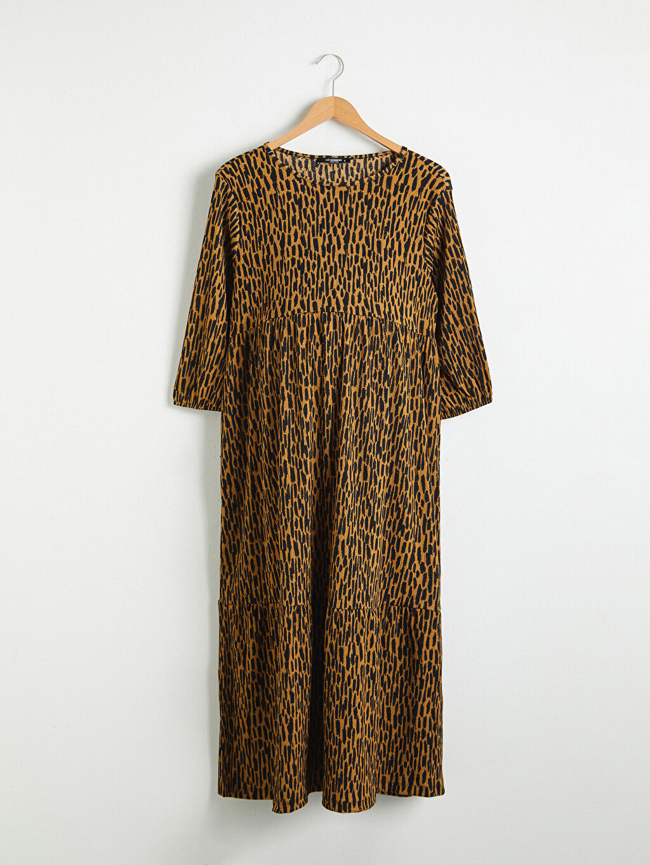 Kahverengi Hamile Leopar Desenli Esnek Elbise 0WDH70Z8 LC Waikiki