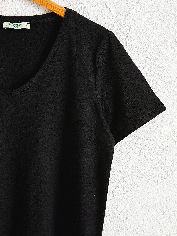 Kadın Doğa Dostu Düz V Yaka Tişört