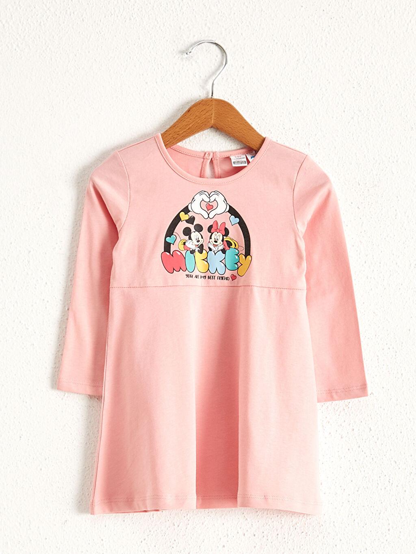 Pembe Kız Bebek Minnie Mouse Baskılı Elbise 0WDN06Z1 LC Waikiki