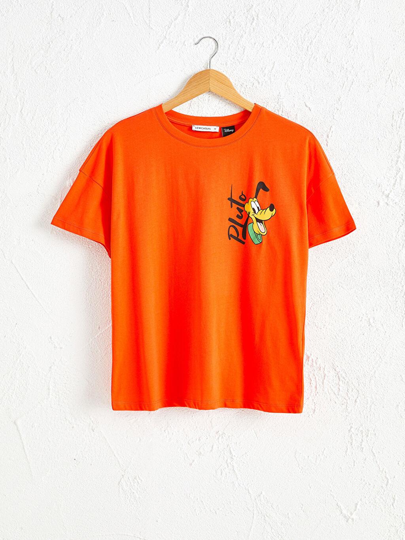Turuncu Goofy Baskılı Pamuklu Tişört 0WDN29Z8 LC Waikiki