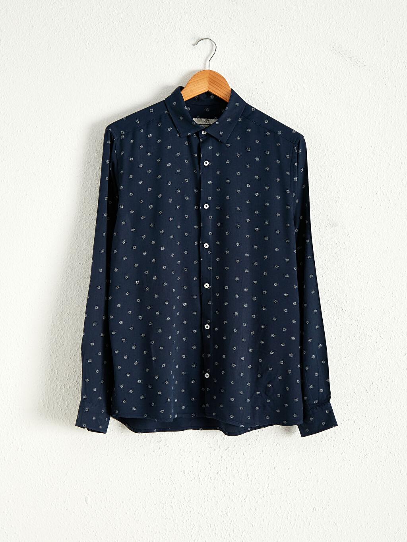 Lacivert Slim Fit Uzun Kollu Gömlek 0WDR49Z8 LC Waikiki