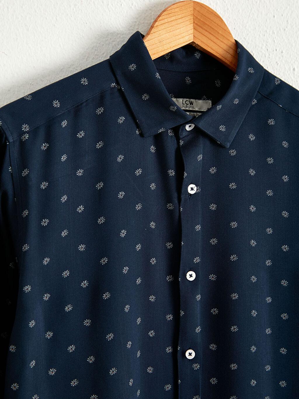 %100 Viskoz Gömlek Slim Fit Uzun Kollu Gömlek