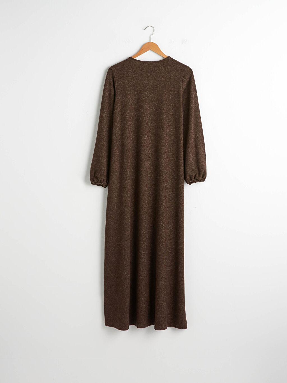 Kahverengi Yakası Düğmeli A Kesim Uzun Salaş Elbise