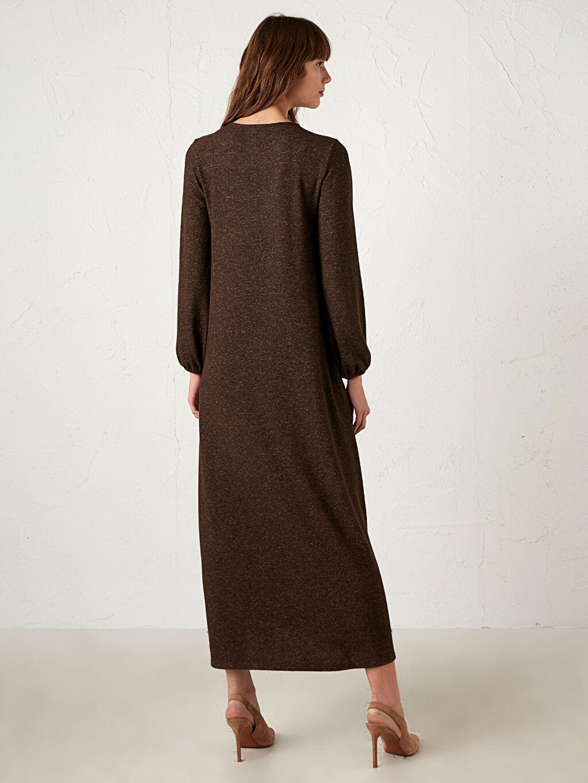 %70 Polyester %27 Viskoz %3 Elastan Yakası Düğmeli A Kesim Uzun Salaş Elbise