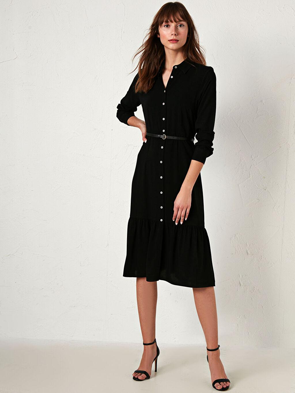 %100 Viskoz Elbise Gömlek Yaka İnce Dar Şifon Uzun Kol Düz Midi Gömlek Elbise Kemerli Şifon Elbise