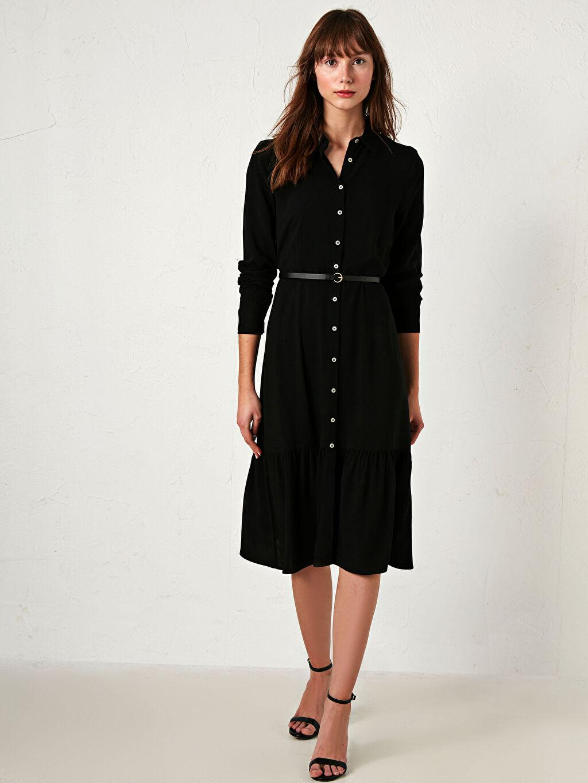 Kadın Kemerli Şifon Elbise