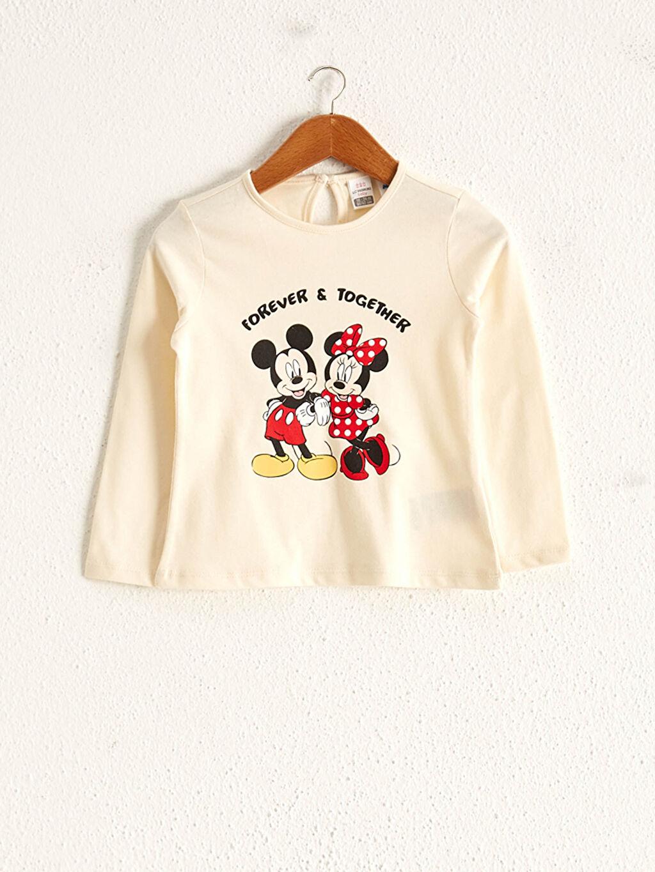 Ekru Kız Bebek Minnie Ve Mickey Mouse Baskılı Tişört 0WEF72Z1 LC Waikiki