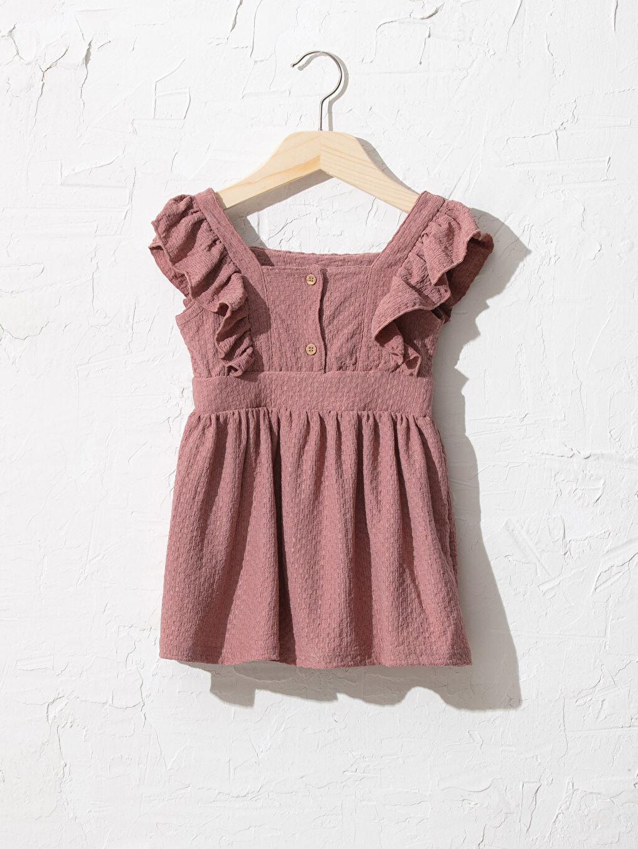 %98 Polyester %2 Elastan Orta Kalınlık Kısa Kol Düz Elbise Kare Yaka Standart Şık Kız Bebek Elbise