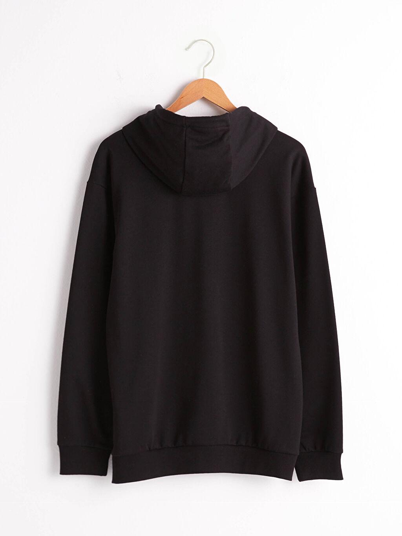 Siyah Kapüşonlu Baskılı Kalın Sweatshirt