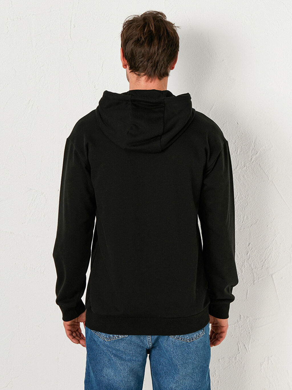 %64 Pamuk %36 Polyester Kapüşonlu Baskılı Kalın Sweatshirt