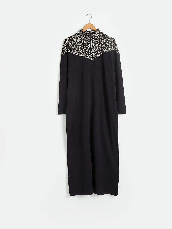 Siyah Renk Bloklu Uzun Elbise