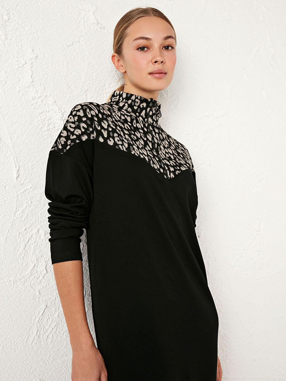 %25 Polyester %72 Viskoz %3 Elastan Renk Bloklu Uzun Elbise