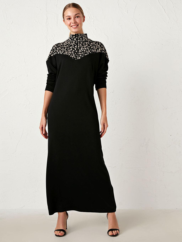 Siyah Renk Bloklu Uzun Elbise 0WEH93Z8 LC Waikiki
