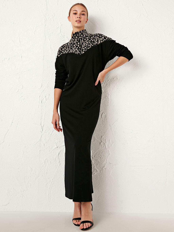 %25 Polyester %72 Viskoz %3 Elastan Standart Orta Kalınlık Elbise Shift Uzun Kol Renk Bloklu Uzun Elbise