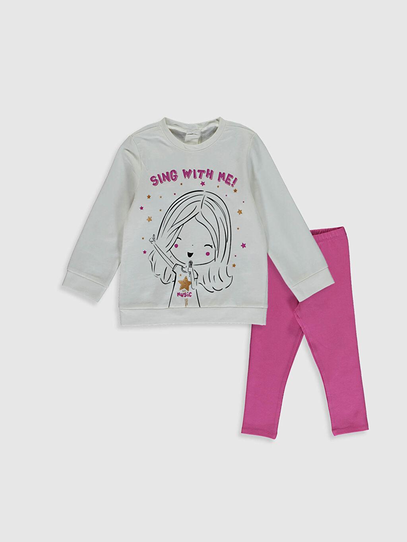 Ekru Kız Bebek Sweatshirt Ve Tayt 0WEJ05Z1 LC Waikiki