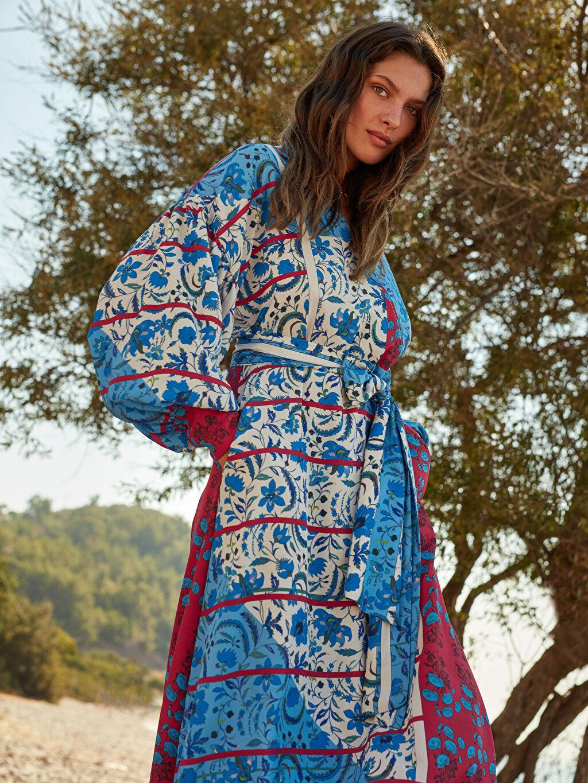 %100 Polyester Oopscool X Lcwaikiki Çiçek Desenli Elbise