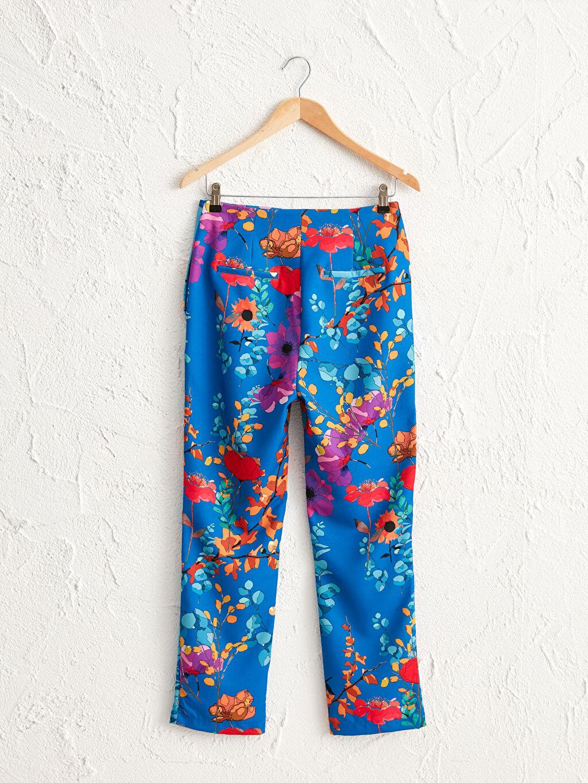 Kadın Oopscool Bilek Boy Çiçek Desenli Pantolon