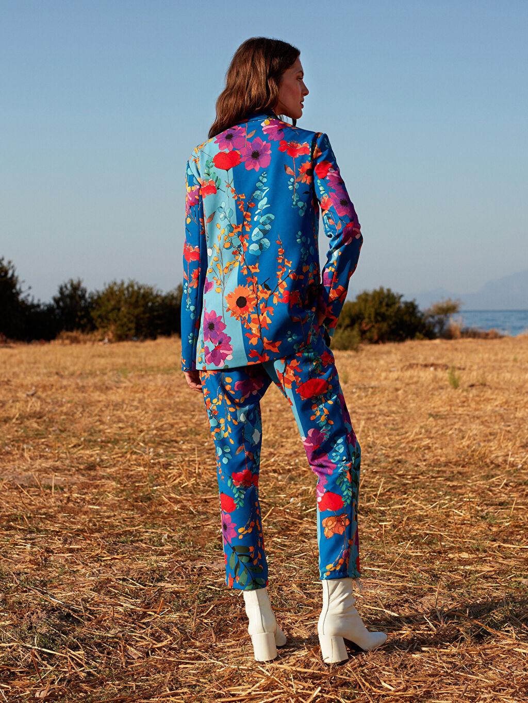 %85 Polyester %15 Elastan Oopscool Bilek Boy Çiçek Desenli Pantolon