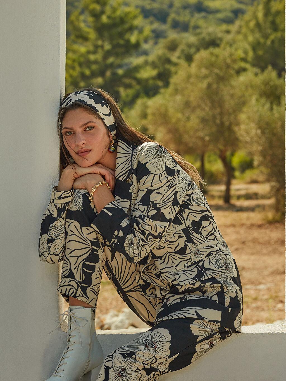 Kadın Oopscool X Lcwaikiki Çiçek Desenli Blazer Ceket