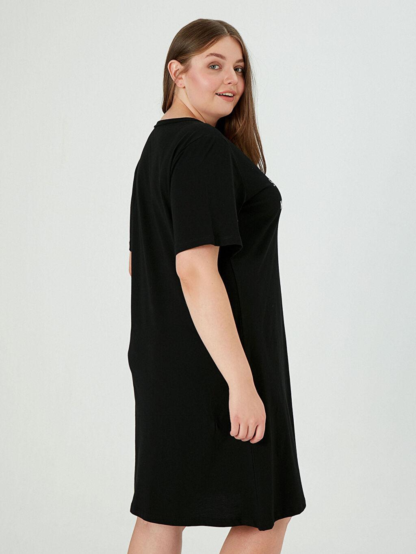 0WEN90Z8 Yazı Baskılı Pamuklu Elbise