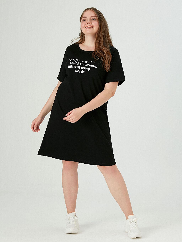 Siyah Yazı Baskılı Pamuklu Elbise 0WEN90Z8 LC Waikiki