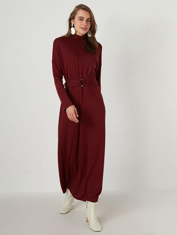 %73 Polyester %24 Viskoz %3 Elastan Elbise Balıkçı Yaka Standart Uzun Orta Kalınlık Shift Uzun Kol Düz Kemerli Uzun Elbise