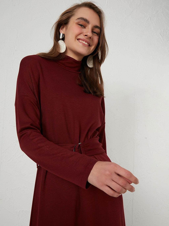 %73 Polyester %24 Viskoz %3 Elastan Kemerli Uzun Elbise