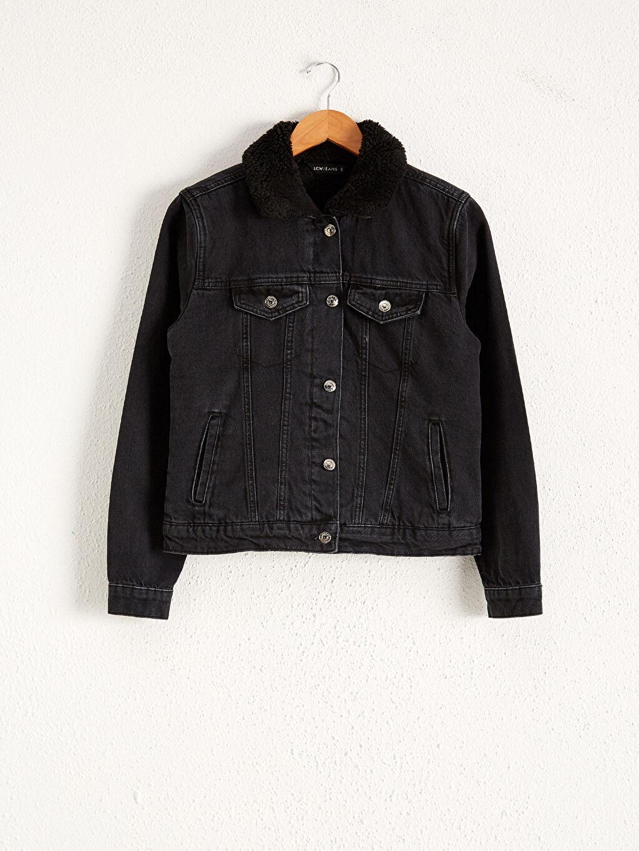 Siyah Yakası Kürklü Jean Ceket 0WFE01Z8 LC Waikiki