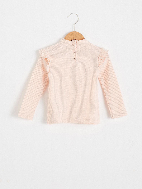 %71 Polyester %2 Elastan %27 Viskoz A Kesim Uzun Kol Yarım Balıkçı Yaka Kalın Standart Tişört Casual Kız Bebek Tişört
