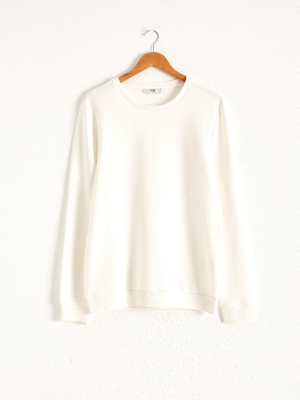 Beyaz Bisiklet Yaka Basic Sweatshirt 0WFF06Z8 LC Waikiki