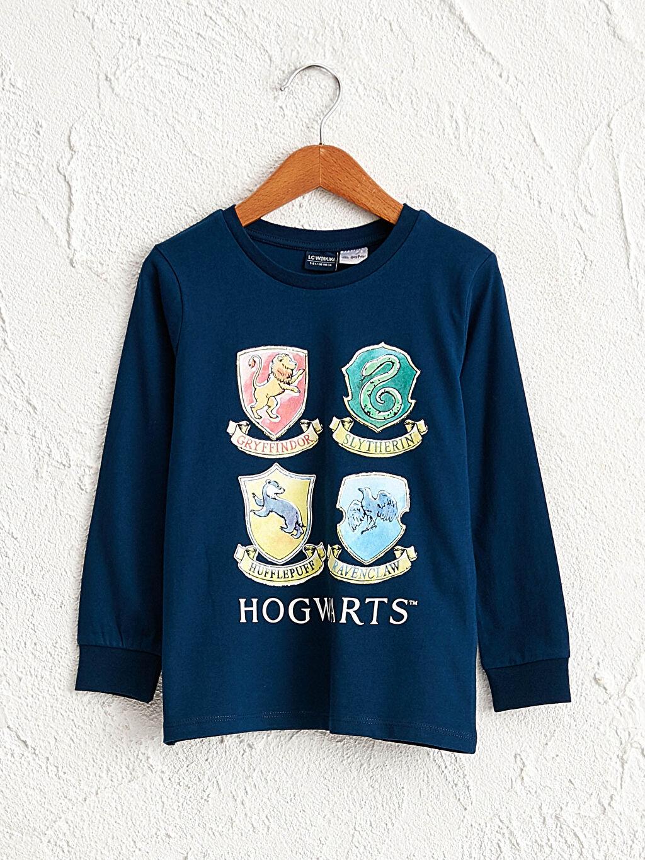 Lacivert Erkek Çocuk Hogwarts Baskılı Tişört 0WFF27Z4 LC Waikiki