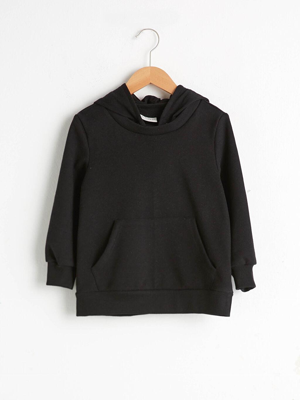 Siyah Kız Çocuk Kapüşonlu Sweatshirt 0WFG18Z4 LC Waikiki