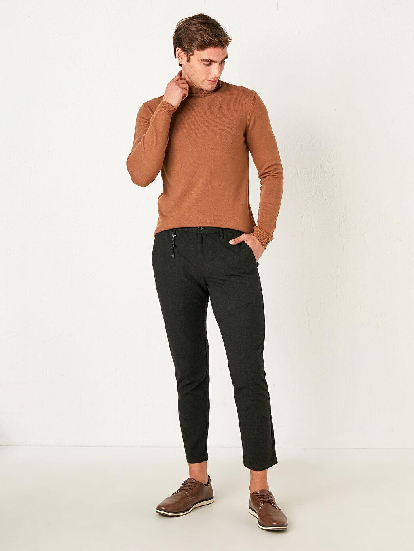 %59 Polyester %36 Viskon %5 Elastan Dar Orta Kalınlık Pantolon Düz Zincir Slim Fit Dokulu Pantolon