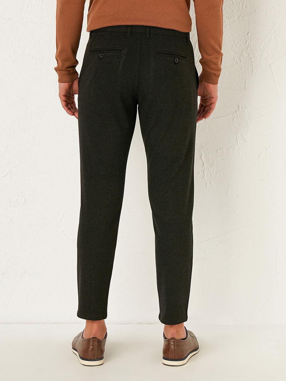 %59 Polyester %36 Viskon %5 Elastan Slim Fit Dokulu Pantolon