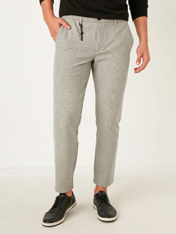 Erkek Slim Fit Dokulu Pantolon