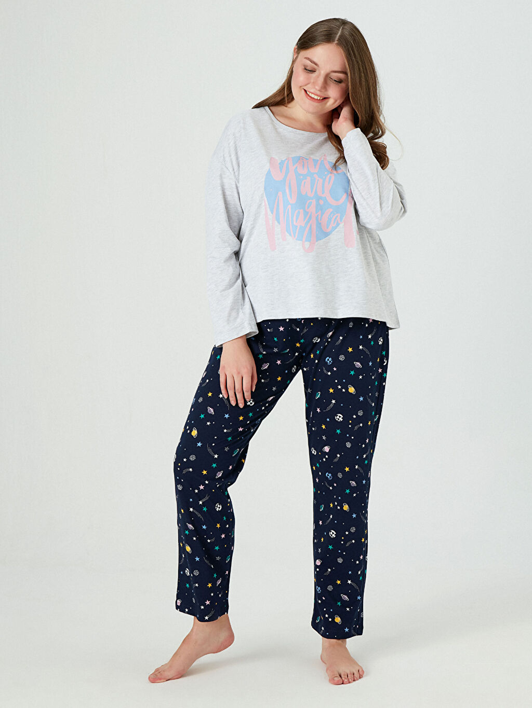 Lacivert Galaksi Temalı Pijama Takımı 0WFQ18Z8 LC Waikiki