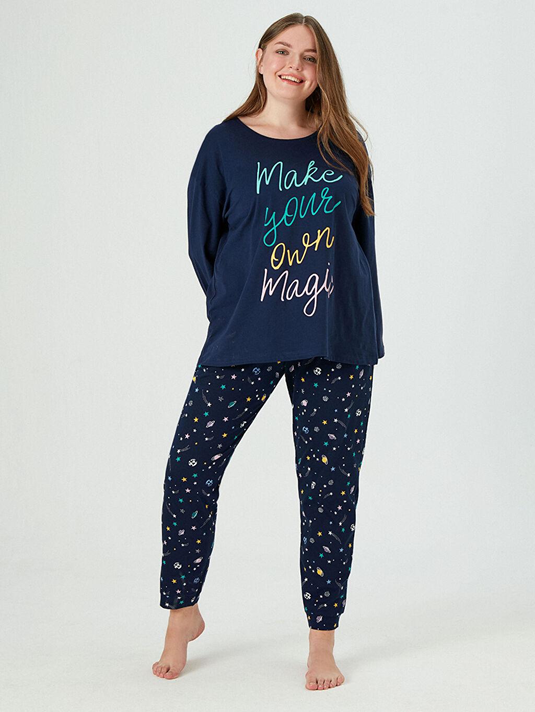 %100 Pamuk Galaksi Temalı Pijama Takımı