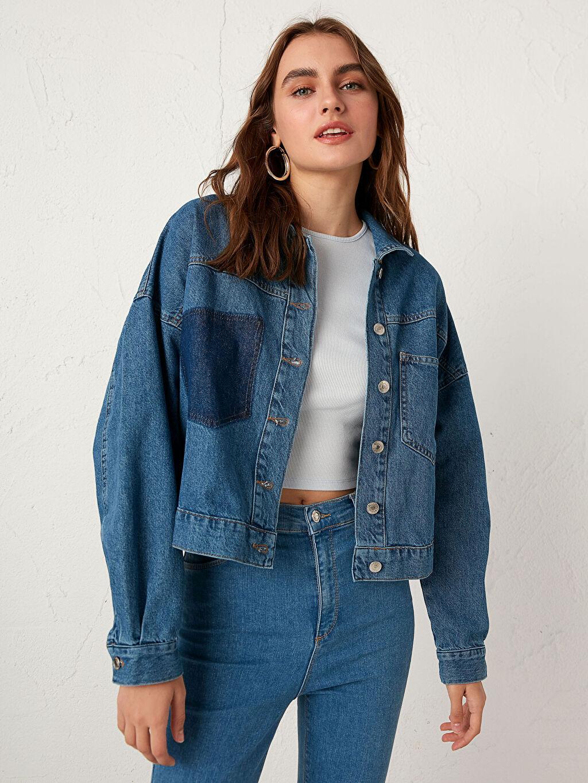 %100 Pamuk Sökük Cep Detaylı Jean Ceket