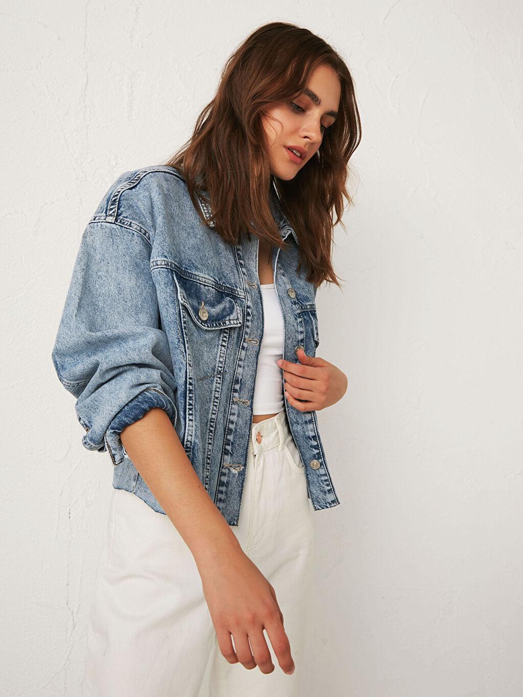 %100 Pamuk Kısa Kalın Jean Ceket Crop Uzun Kol Crop Jean Ceket