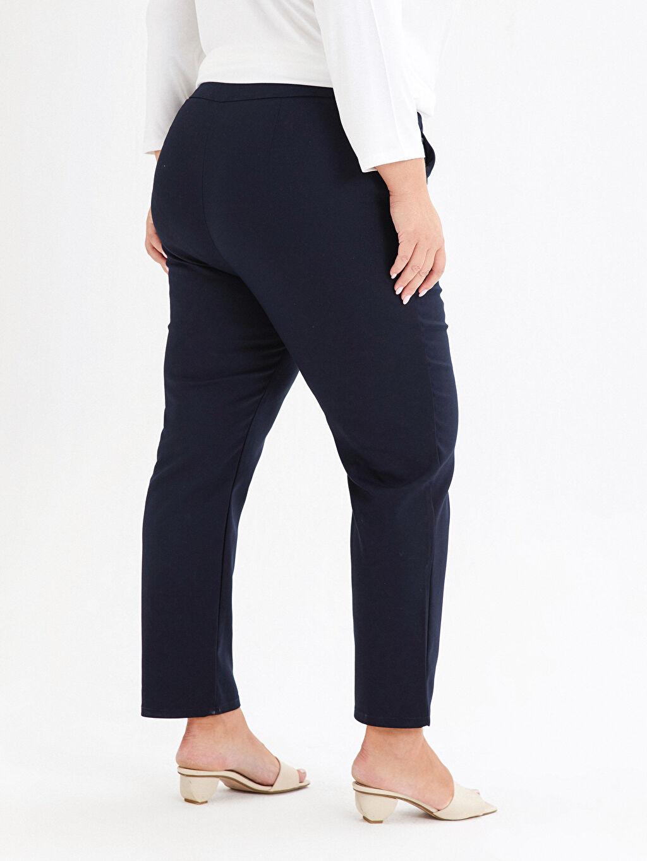 %58 Pamuk %39 Polyester %3 Elastan Beli Lastikli Bilek Boy Cigarette Pantolon