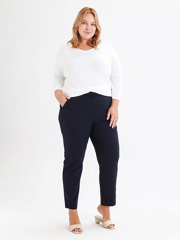 %58 Pamuk %39 Polyester %3 Elastan Pantolon Düz Beli Lastikli Bilek Boy Cigarette Pantolon