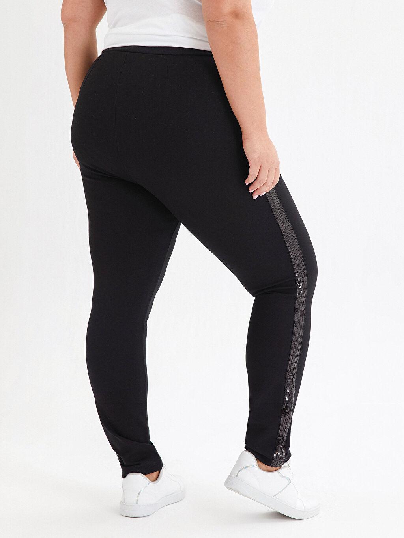 %24 Polyester %73 Viskoz %3 Elastan İşıltılı Şerit Detaylı Harem Pantolon