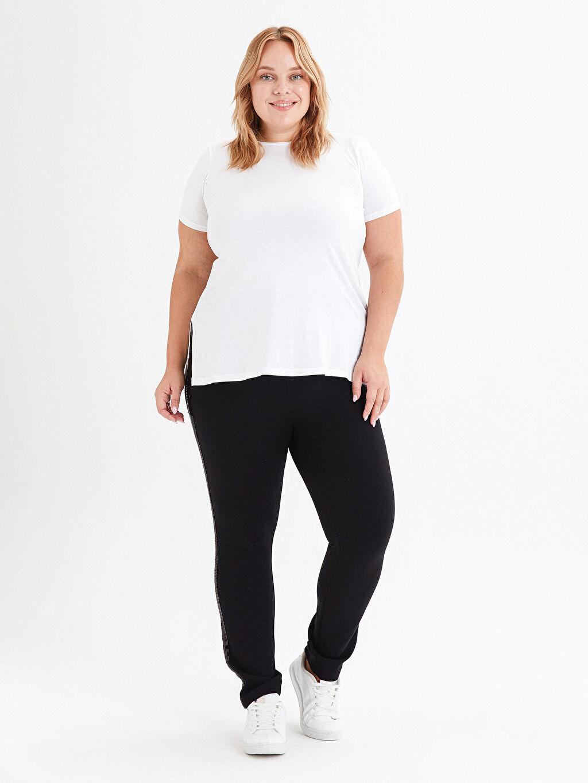 Siyah İşıltılı Şerit Detaylı Harem Pantolon 0WGC17Z8 LC Waikiki