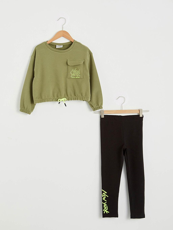 Yeşil Kız Çocuk Sweatshirt Ve Tayt 0WGE35Z4 LC Waikiki