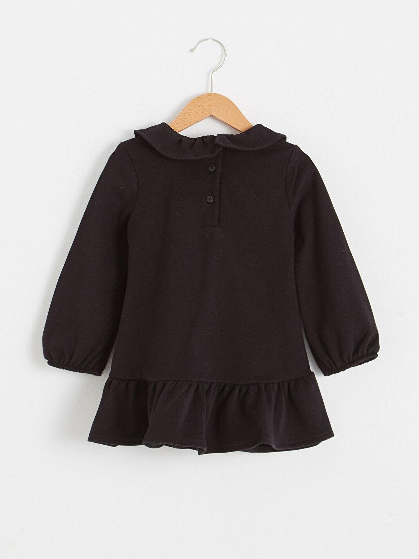 %65 Pamuk %35 Polyester Elbise Baskılı Bisiklet Yaka Uzun Kol Kız Bebek Baskılı Elbise