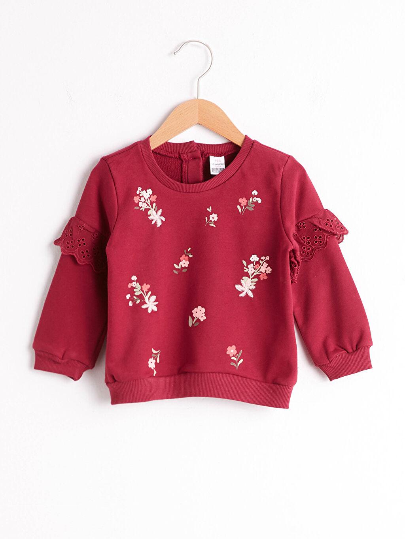 Bordo Kız Bebek Baskılı Sweatshirt 0WGH55Z1 LC Waikiki