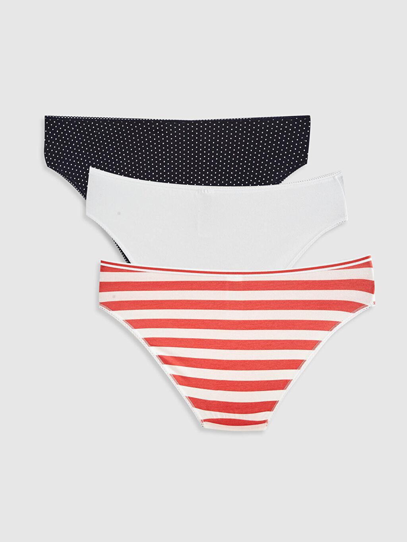 %96 Pamuk %4 Elastan Külot Standart Bikini Düz Penye Baskılı Klasik Külot 3'Lü